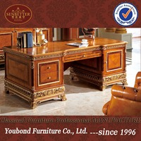 0062 Latest extravagant antique executive office table design , luxurious director office furniture