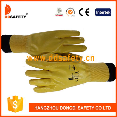 DDSAFETY Cotton Jersey Liner Fully Yellow Nitrile Coated Glove