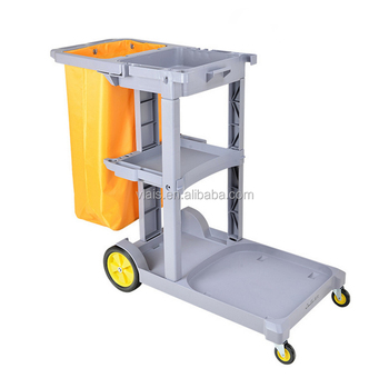 hotel plastic cleaning trolley cart with cover housekeeping service cart