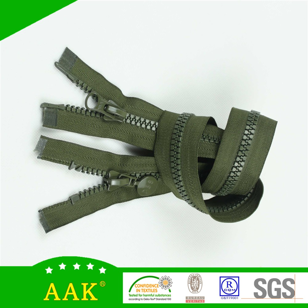 wholesale double slider #5 two way open end plastic separating zipper