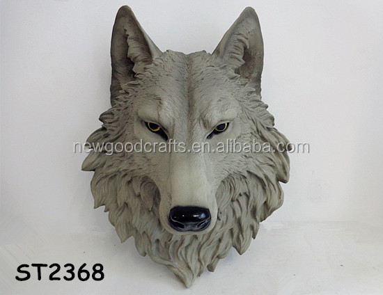 Resin Wolf Head Sculpture Animal Wall Decoration