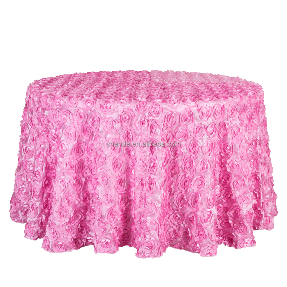 Good Quality Rose Embroidery Table Cloths Royal Round Tablecloth 3D Satin Rosette Wedding Table Cloth
