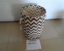 Good quality white and black pattern fabric laundry basket with PU handles