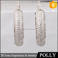 China jewellery ss 925 silver CZ hoop ring type earring wholesale