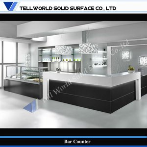 TW beautiful L shaped artificial stone commercial bar counter