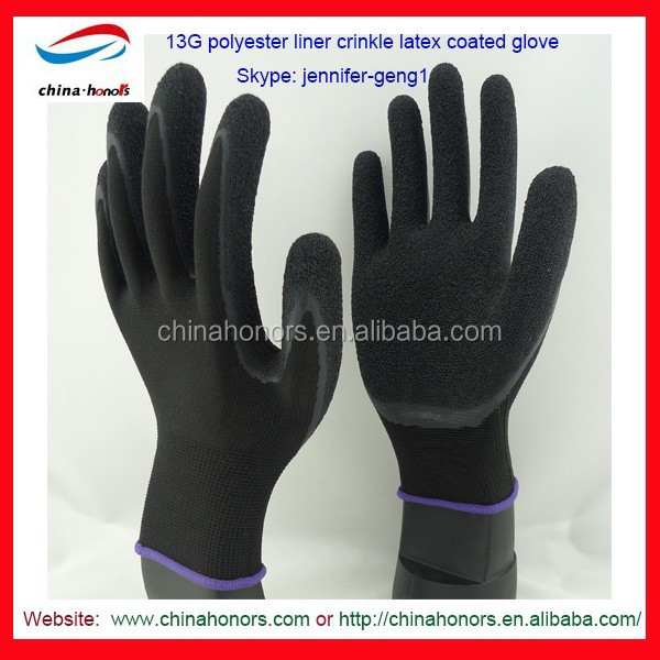 polyester latex gloves with printing