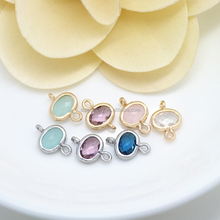 Diy jewelry pendants materials wholesale gold-plated copper colored stones double holes elliptic for bracelet