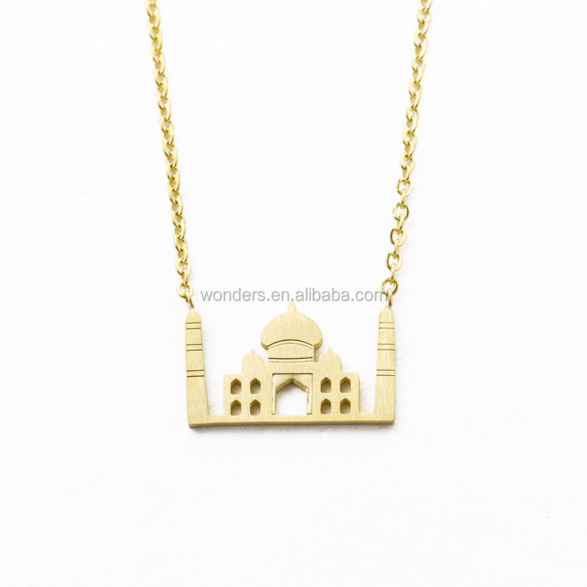Minimalist Taj Mahal Pendant <strong>Necklace</strong> For Women And Girls Gift Stainless Steel Jewelry