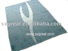 100% Modacrylic FAR25.853 flame retardant airline blanket with jacquard logo Blanket factory China airplane blanket
