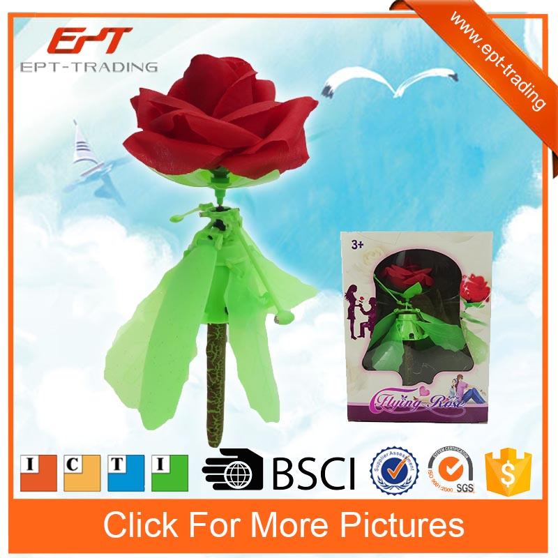 Hot selling kids hand induction flying spinning rose toys for sale