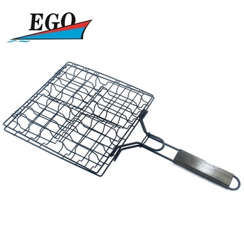 Hamburger grill with non stick coating,wood handle