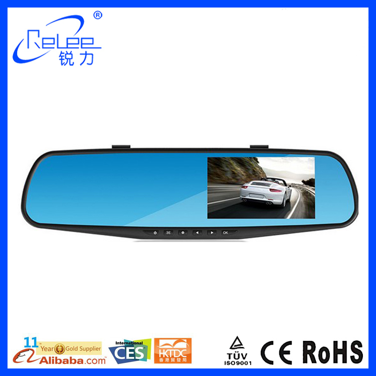 "CE Certification HD 2.7"" Dual Lens Video Dash Cam Recorder Car DVR Rearview Mirror Camera"