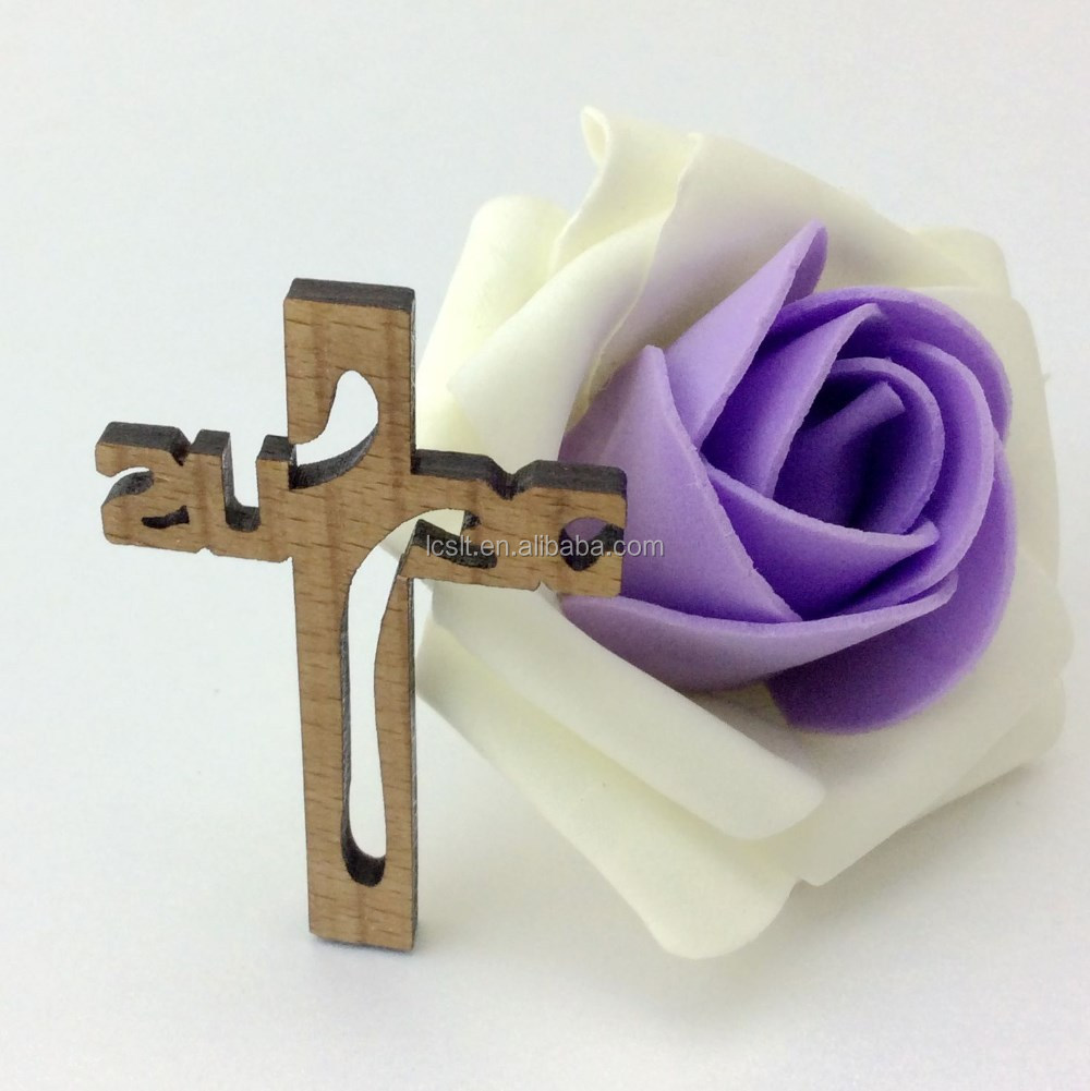 wood carved cross keychain for key decor