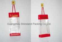 PP woven bag with clear PVC windows for wine packaging as an gift