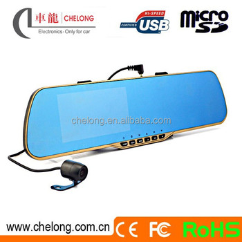 Chelong brand 4.3inch 1080P G-sensor motion detection rearview mirror with parking camera