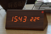 2015 Hot sale table LED wood clock with alarm,temperature,date
