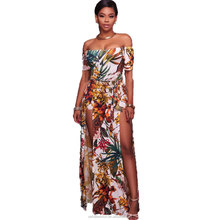 high quality sexy off-shoulder split long maxi printed dress for women