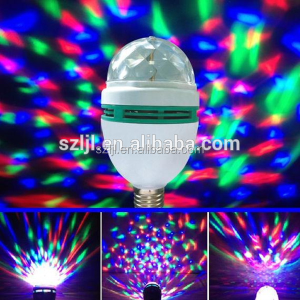 Rotating lamp RGB full color 3W led bulb lights multicolor Disco dj club party stage lighting CE&RoHS Compliant
