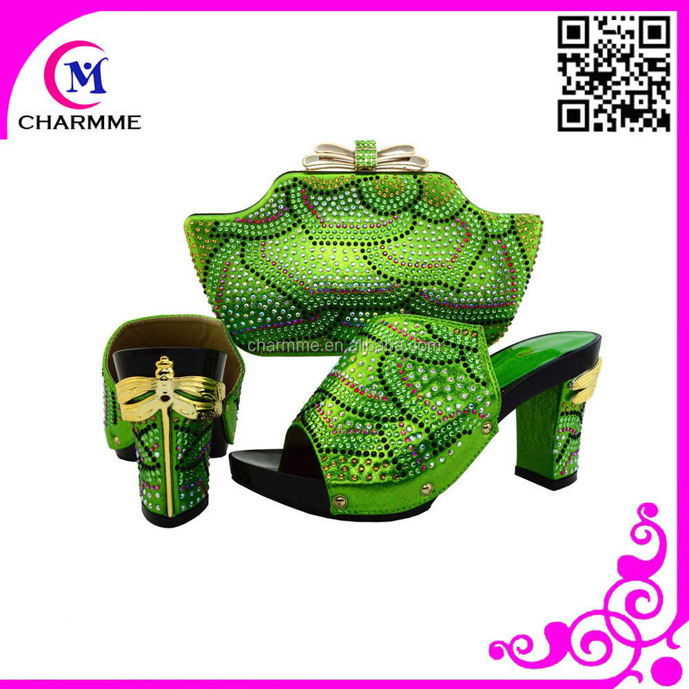 latest fashion top hand italian shoes matching bags with new design for the nigeria party