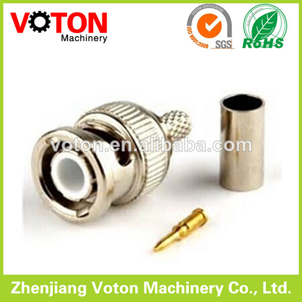 RF connector BNC male plug crimp for RG59 connector (brass connector)