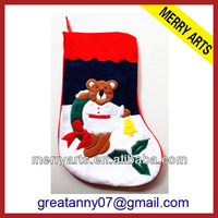 Cheap mini felt toddler bear design christmas decorations socks made in china