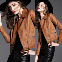 wholesale plus size autumn winter coat and jackets women 2017 winter apparel clothes high quality pu leather motorcycle jacket