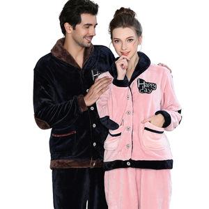 e6d4c44174 Couples Warm Flannel Pajama Set Lovely Shawl Collar Patchwork Winter Coral Fleece  Pyjamas Sleepwear for Women