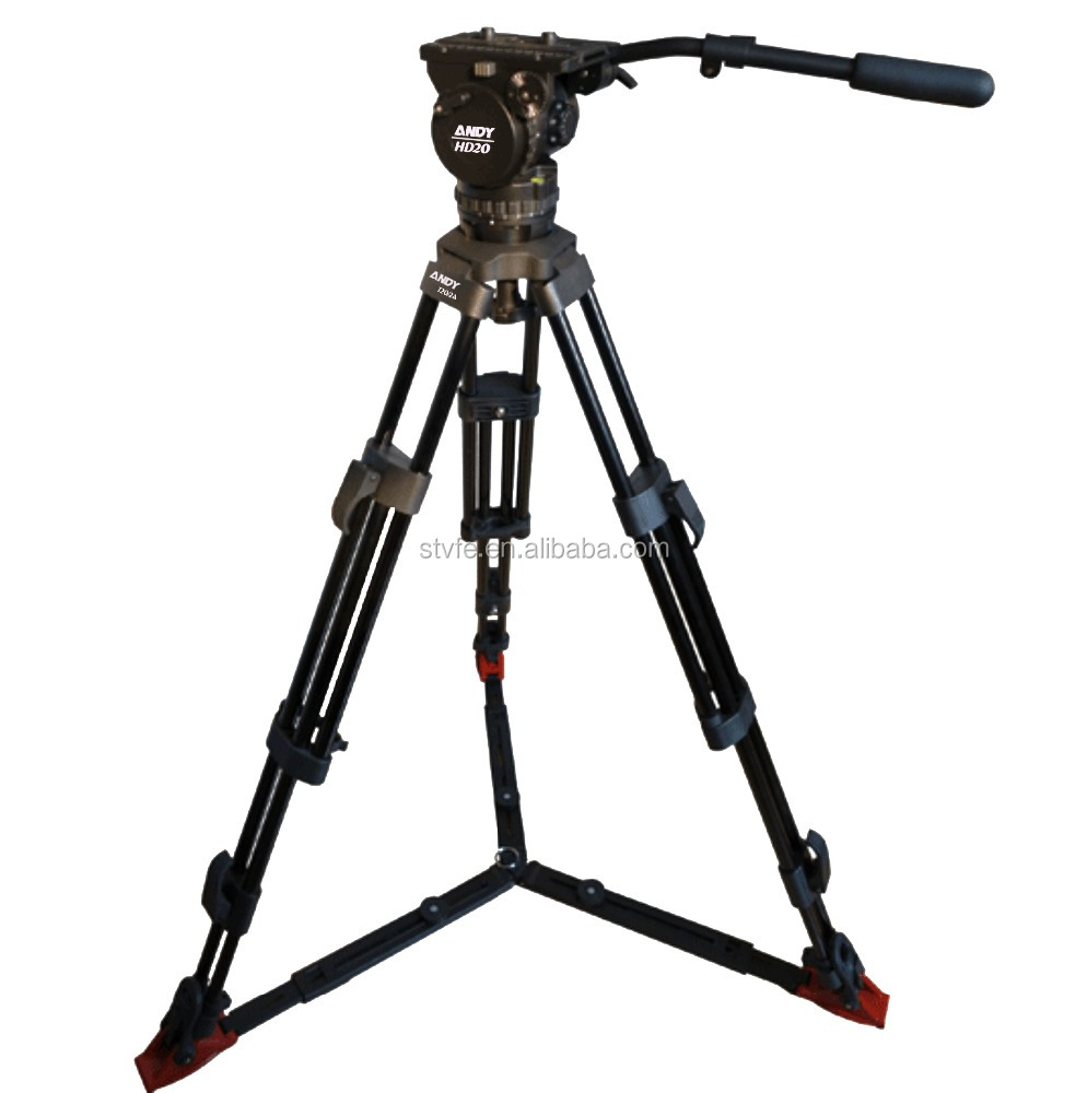 ANDY K20/2AG heavy duty 100mm fluid drag pan tilt head tripod kit