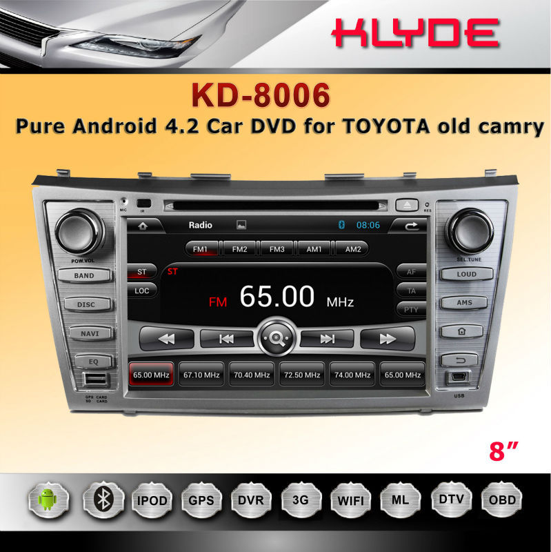 "8"" 2 din android 4.2 toyota camry car DVD with Radio,GPS,Ipod,Bluetooth"
