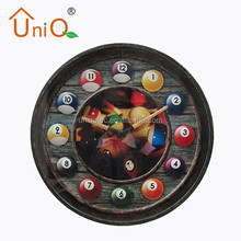 Round unique design bowling ball metal wall clock