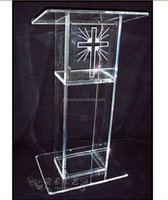 Shenzhen factory supply modern acrylic polishing clear plastic church podium