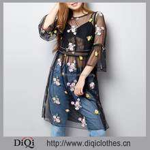 Wholesale New Fashion Sexy See Through Summer Black Stud Floral Embroidered Mesh Dresses