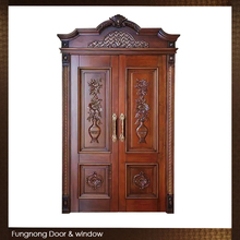 FD0013- Factory Price Custom Made Awesome Luxurious House Teak Wood Front Main Entrance Double Door Gate Design