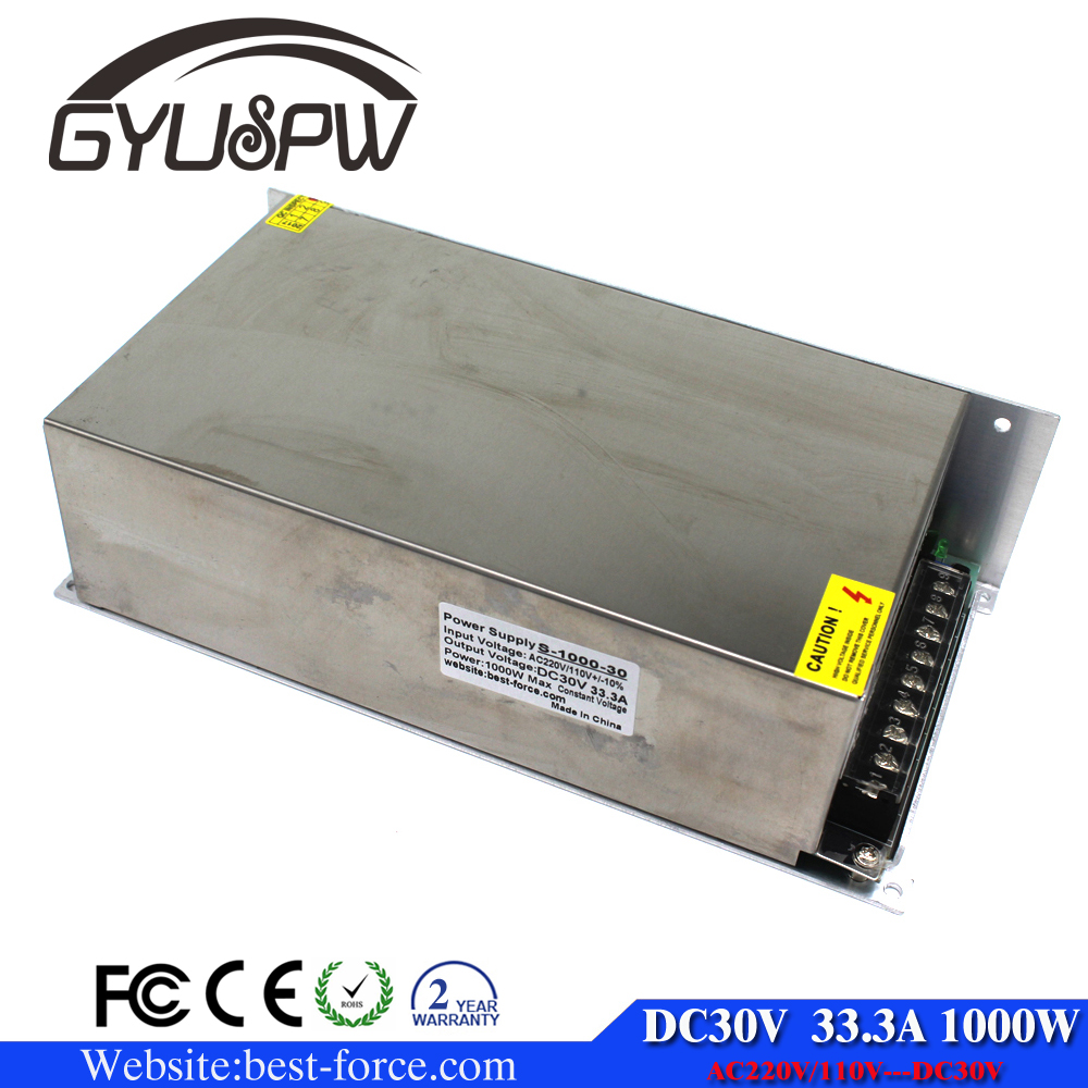 1000W 30V 33.3A Single Output Switching power <strong>supply</strong> Led AC to DC30V SMPS For CNC CCTB Motor