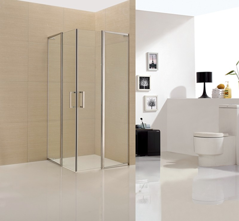 frameless tempered glass hinge shower room