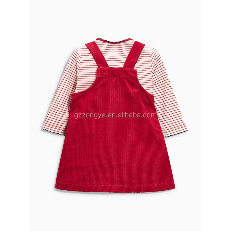 Corduroy color red dresses with shirt for girls