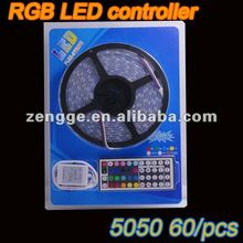 5M RGB 5050 SMD LED Strip 300 LEDS 60leds/Meter WATERPROOF + 44 Key IR REMOTE Controller + 12v 4A power supply(adapter)