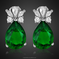 Wholesale Jewelry Green Emerald pictures of White Gold GP Silver Tone Stud Earrings