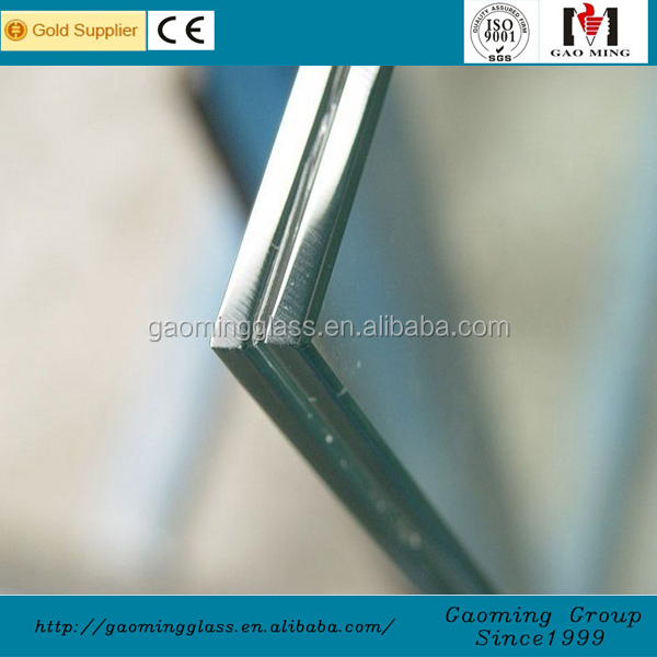Gaoming 6mm thick laminated frosted glass for windows, door, curtain walls, skylight, sunroom, awning, roofing, glass railing
