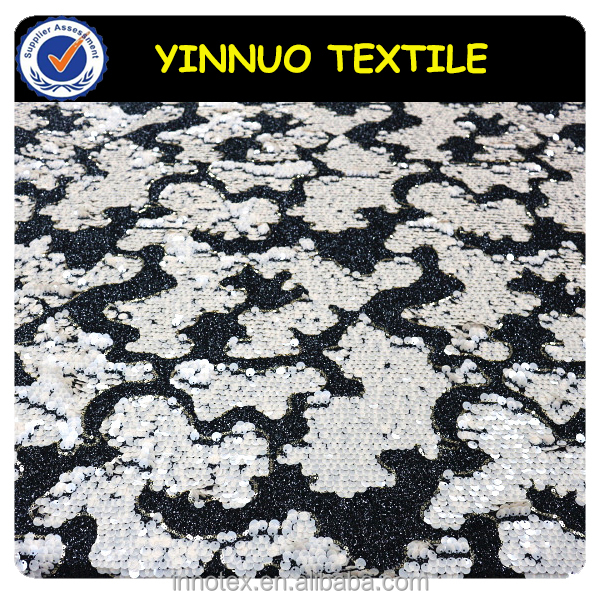 Eco-friendly PET sequin two color sequin fabric