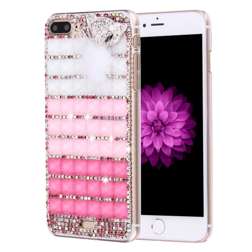 In stock low price Diamond Encrusted Jewel Fox Pattern PC Protective phone Case Back Cover for iPhone 7 Plus