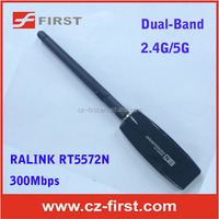 300mbps Wireless-N Dual-Band 2.4G/5G USB Wifi Adapter/Dongle network card with 2dBi external type intelligent antenna