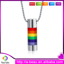 Wholesale LGBT Gay Pride Rainbow Jewelry Stainless Steel Ball Chain Pendant Necklaces For Gay Men