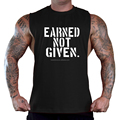 Men's Earned Not Given Black T-Shirt Tank Top Gym Workout Fitness Beast Tee Gym Fitness Shirts mens tank top fitness