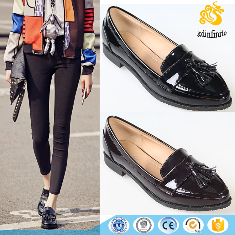 Wholesale fancy blue patent leather loafers moccasin plain shoes