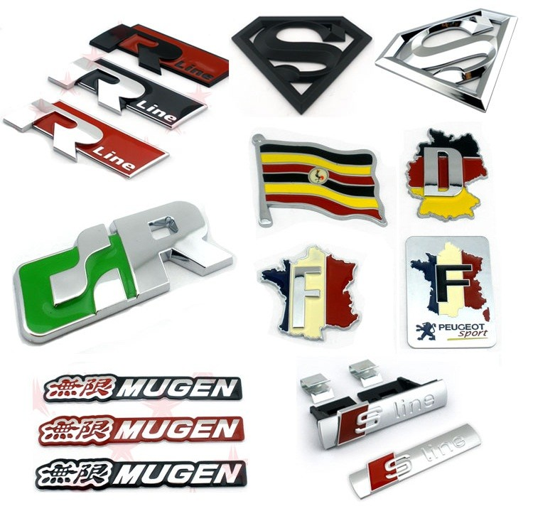 Sport High quality 3D self-adhesive ABS plastic chrome cardboard letters for cars