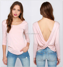 Sexy Saree Blouse Fashion Women Backless Long Sleeve Bottoming T-Shirt Solid Loose Shirt Blouse