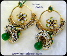 Long Kundan Heavy Wedding Wear Jhumki Earrings