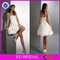 EDW258 Newest Beaded Bodice Flower Waist Tight Sexy Short Wedding Dresses