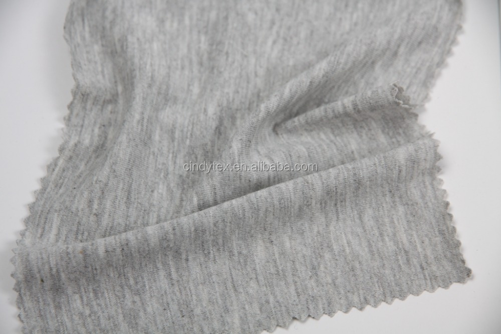 32s drapery soft 60% cotton 40% Polyester heather grey jersey knit fabric